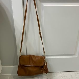 Tan fringed crossbody